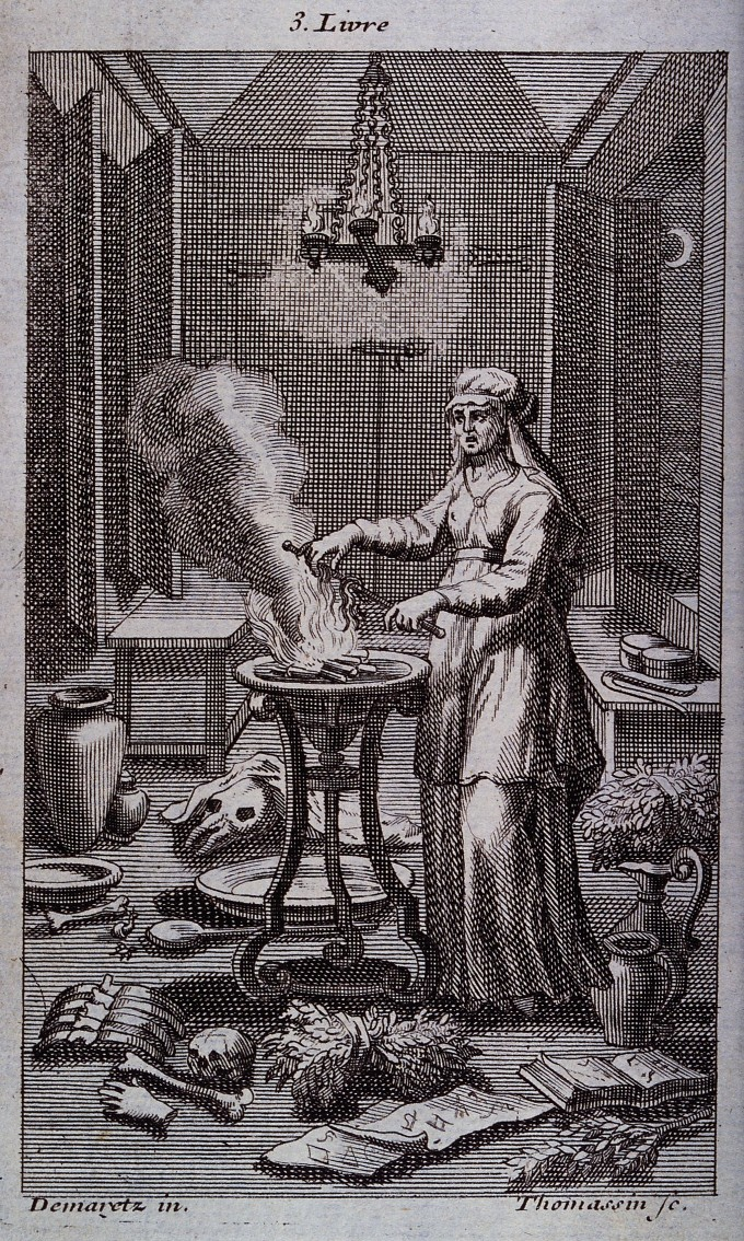 V0025855 A witch casting spells over a steaming cauldron. Engraving b